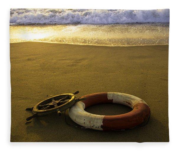 Life Ring On Beach Fleece Blanket