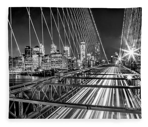 Light Trails Of Manhattan Fleece Blanket