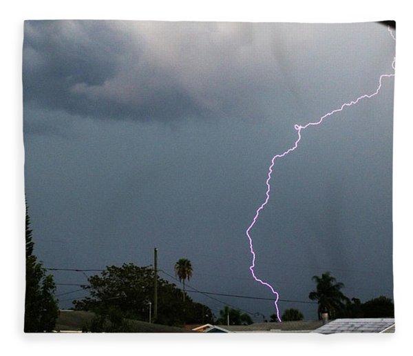Lightning Bolt Illuminates The Sky Fleece Blanket