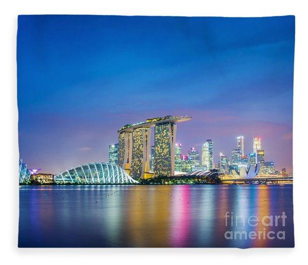 Lights Of Singapore Fleece Blanket