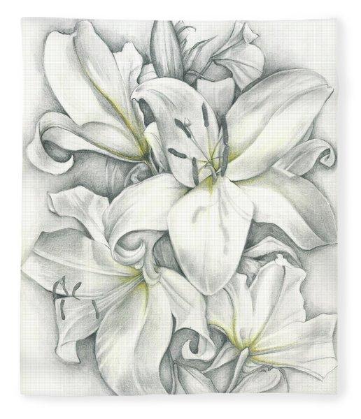 Lilies Pencil Fleece Blanket