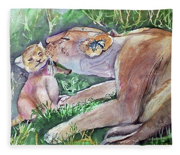 Lion And Cub Fleece Blanket