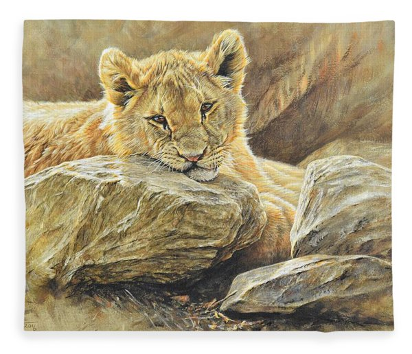 Fleece Blanket featuring the painting Lion Cub Study by Alan M Hunt