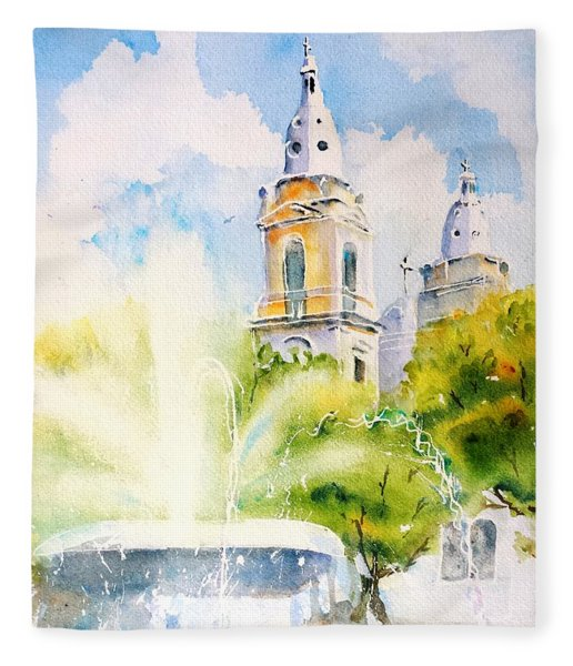 Lions Fountain Plaza Las Delicias  Ponce Cathedral Puerto Rico Fleece Blanket