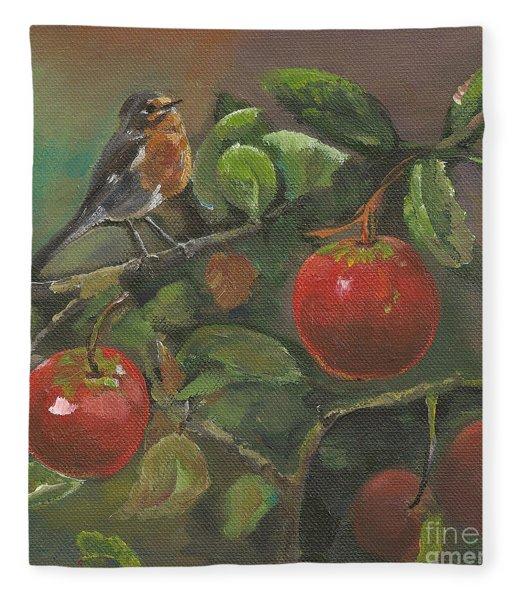Little Bird In The Apple Tree Fleece Blanket