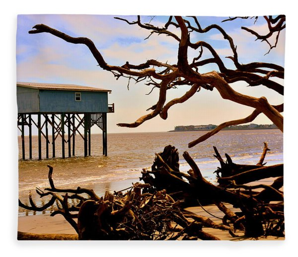 Little Blue Hunting Island State Park Beaufort Sc Fleece Blanket