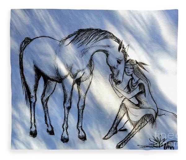 Little Deer And Wind Spirit Fleece Blanket