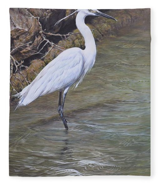 Fleece Blanket featuring the painting Little Egret by Alan M Hunt