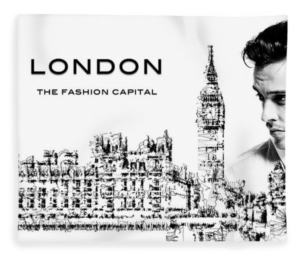 Fleece Blanket featuring the digital art London The Fashion Capital by ISAW Company