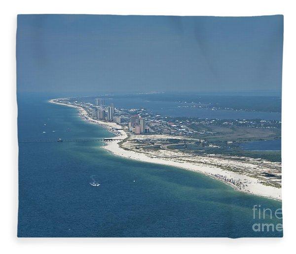 Long, Aerial, Beach View Fleece Blanket