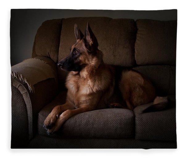 Looking Out The Window - German Shepherd Dog Fleece Blanket