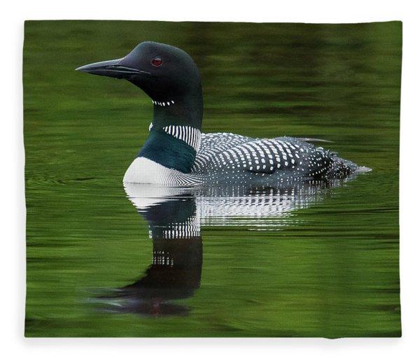 Loon Reflections On The Lake Fleece Blanket