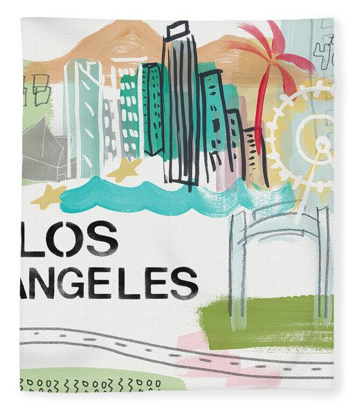Los Angeles Cityscape- Art By Linda Woods Fleece Blanket