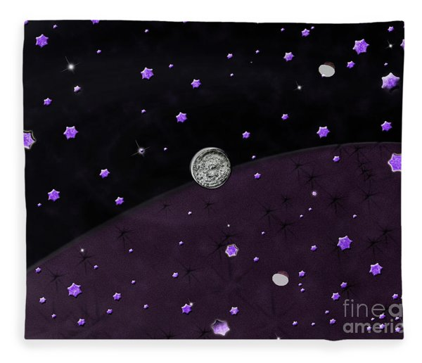 Lost In Midnight Charcoal Stars Fleece Blanket