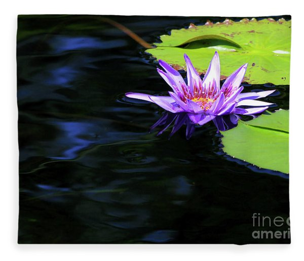 Lotus And Dark Water Refection Fleece Blanket