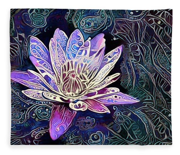 Fleece Blanket featuring the mixed media Lotus From The Mud by Susan Maxwell Schmidt