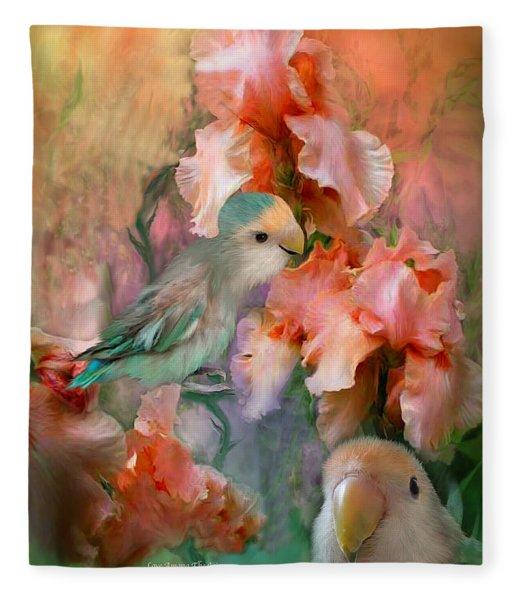 Love Among The Irises Fleece Blanket