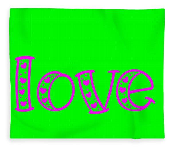 Fleece Blanket featuring the digital art Love In Magenta And Green by Bee-Bee Deigner