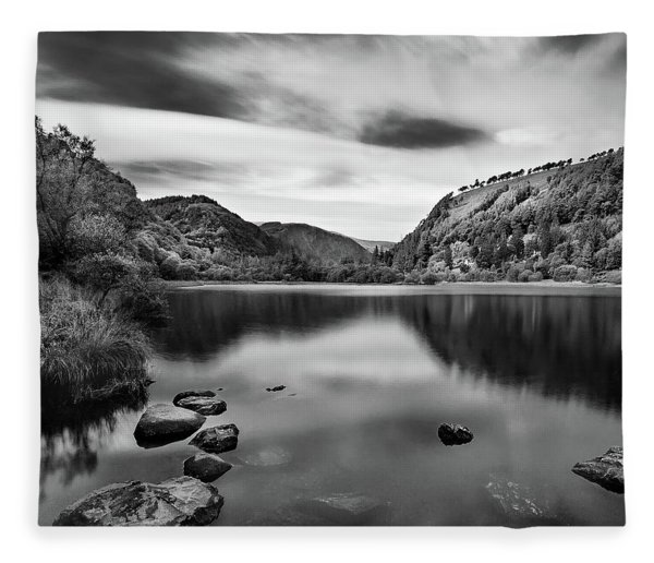 Fleece Blanket featuring the photograph Lower Lake At Glendalough, County Wicklow - Ireland by Barry O Carroll