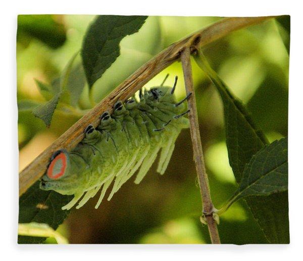 Luna Moth Caterpillar Upside Down  Fleece Blanket
