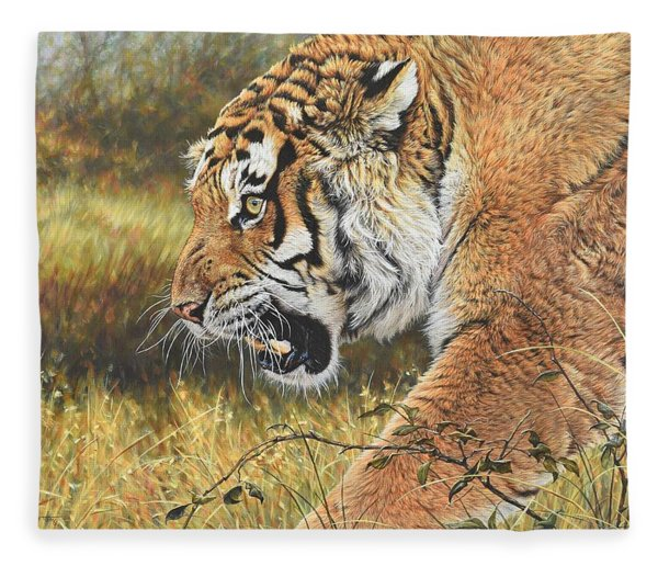 Fleece Blanket featuring the painting Lunch Time by Alan M Hunt
