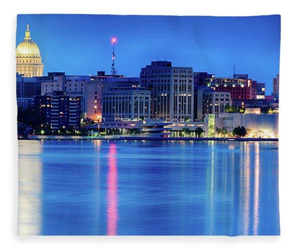 Madison Skyline Reflection Fleece Blanket