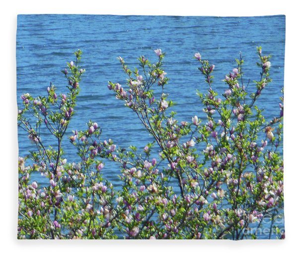Magnolia Flowering Tree Blue Water Fleece Blanket