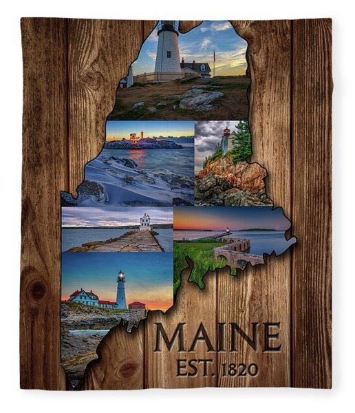 Maine Lighthouses Collage Fleece Blanket