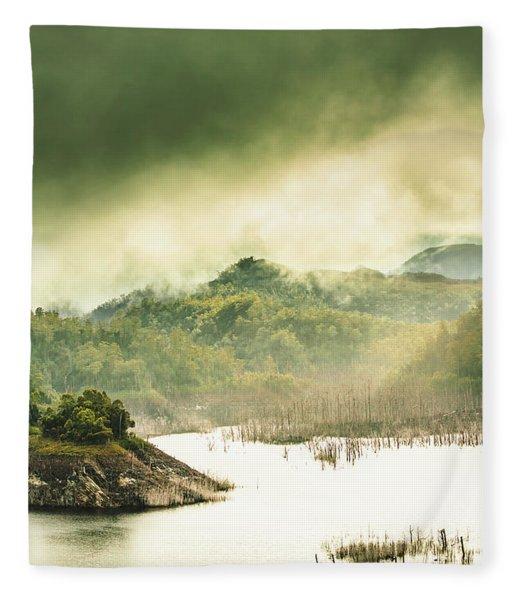Majestic Morning Lake Fleece Blanket