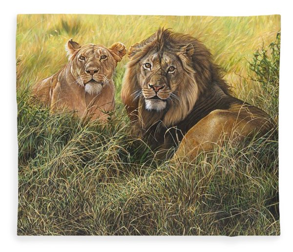 Fleece Blanket featuring the painting Male And Female Lion by Alan M Hunt