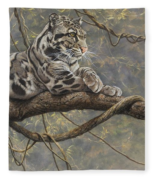Fleece Blanket featuring the painting Male Clouded Leopard by Alan M Hunt