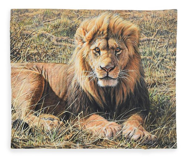 Fleece Blanket featuring the painting Male Lion Portrait by Alan M Hunt