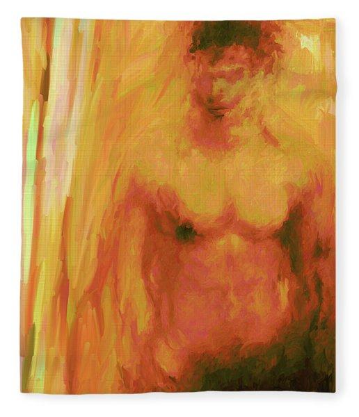 Fleece Blanket featuring the digital art Man In Yellow by Matt Lindley