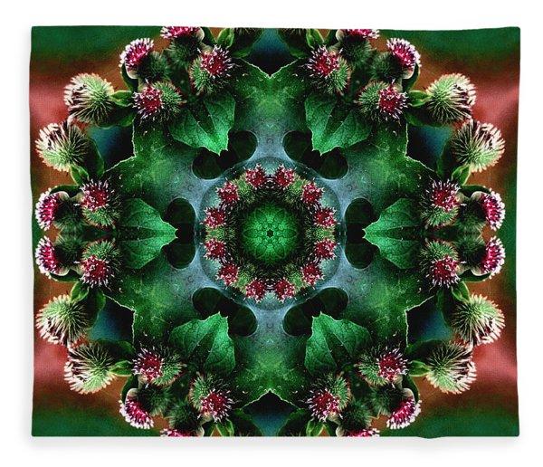 Mandala Bull Thistle Fleece Blanket