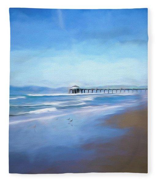 Manhattan Pier Blue Art Fleece Blanket