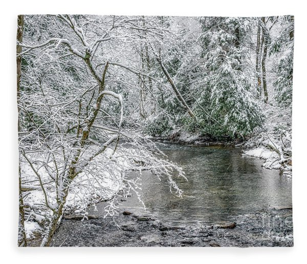 March Day Along Cranberry River Fleece Blanket