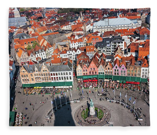Fleece Blanket featuring the photograph Markt Square Bruges From Above - Bruges by Barry O Carroll