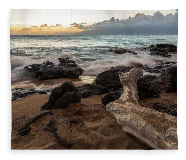 Maui Beach Sunset Fleece Blanket