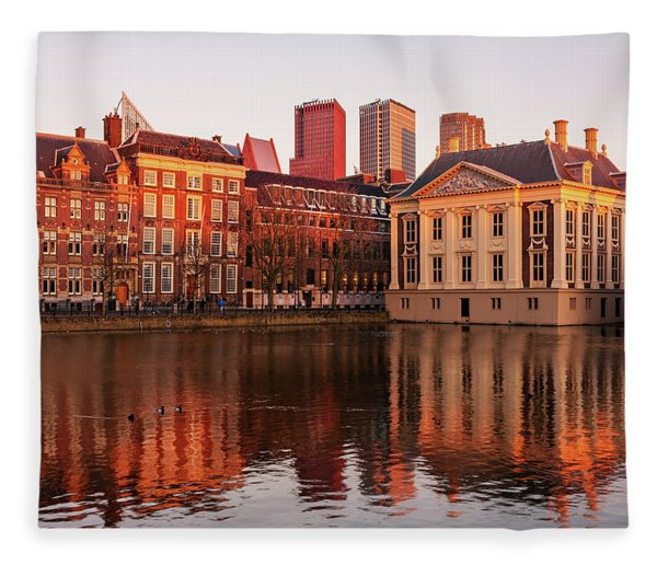 Fleece Blanket featuring the photograph Mauritshuis And Hofvijver At Golden Hour - The Hague by Barry O Carroll