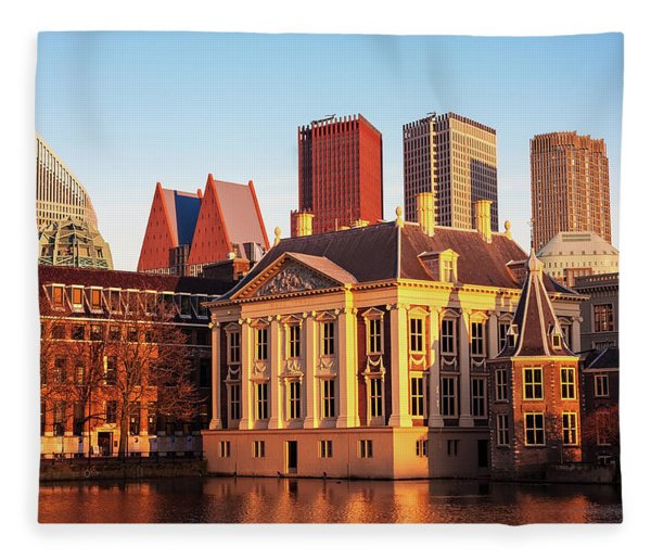 Fleece Blanket featuring the photograph Mauritshuis At Golden Hour - The Hague by Barry O Carroll