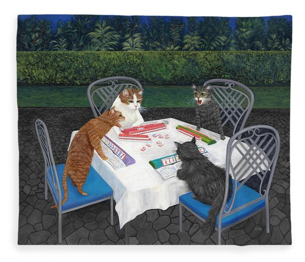Meowjongg - Cats Playing Mahjongg Fleece Blanket