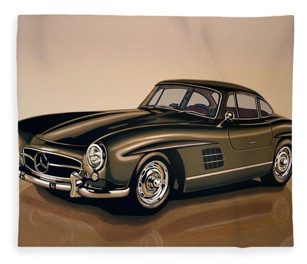 Mercedes Benz 300 Sl 1954 Painting Fleece Blanket