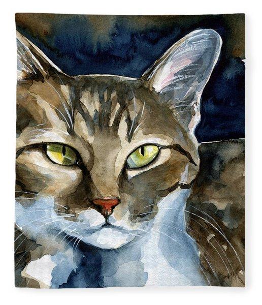 Mesmerizing Eyes - Tabby Cat Painting Fleece Blanket