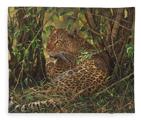Fleece Blanket featuring the painting Midday Siesta by Alan M Hunt