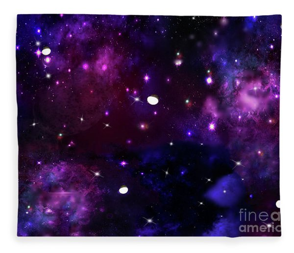 Midnight Blue Purple Galaxy Fleece Blanket