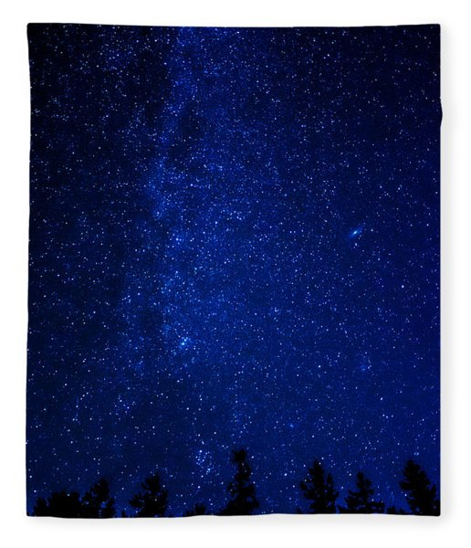 Milky Way And Trees Fleece Blanket