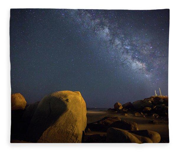 Milky Way On The Beach Fleece Blanket