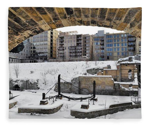 Mill Ruins Park Winter Fleece Blanket