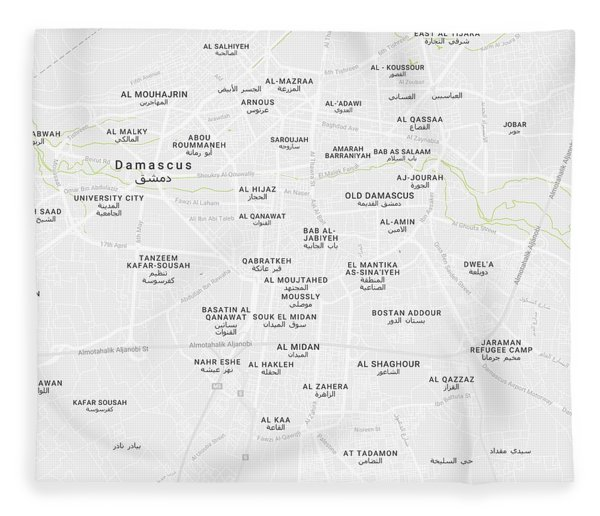 Minimalist Modern Map Of Downtown Damascus, Syria 2 Fleece Blanket