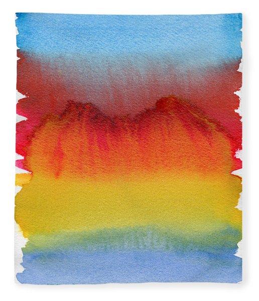 Fleece Blanket featuring the painting Miraggio by Bee-Bee Deigner
